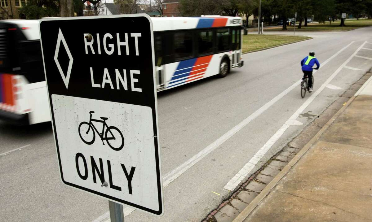 Bike Houston executive director Michael Payne says striped bike paths, such as this one on Heights Boulevard, should be wider to provide more safety.