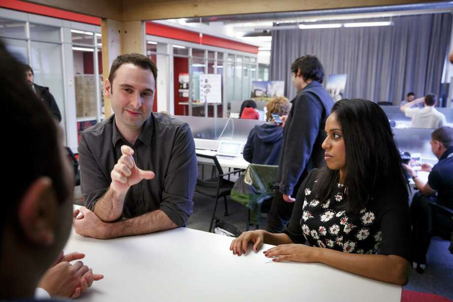 Greg Pass, the former chief technology officer of Twitter, leads a discussion at Cornell Tech with Amanda Emmanuel and other students at the school. Photo: RICHARD PERRY / New York Times / NYTNS