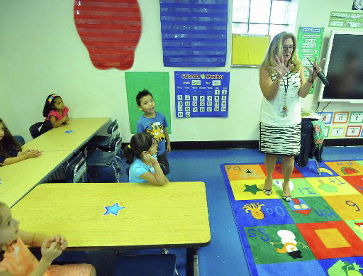 A scene from the first day of school this year for New Lebanon kindergarten students attending class at BANC.