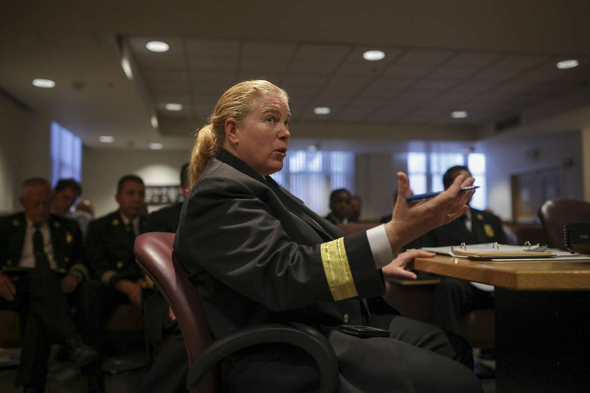 Fire Chief Joanne Hayes-White speaks to Fire Commissioners during a Fire Commissioners meeting in San Francisco on September 26th 2014. Hayes-White has recently been under fire for her leadership of the department.