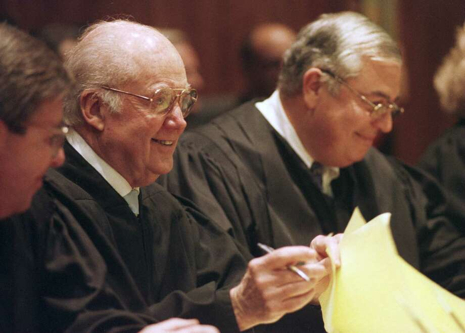 Times Union staff photo by SKIP DICKSTEIN -- TUESDAY NOVEMBER 11, 1997 --ALBANY, NY -- JUDGE JOHN CASEY'S LAST DAY ON THE BENCH AT THE APPELLATE DIVISION.   HE IS SEATED NEXT TO PRESIDING JUDGE OF THE APPELLATE DIVISION ANTHONY CARDONA. Photo: SKIP DICKSTEIN / ALBANY TIMES UNION