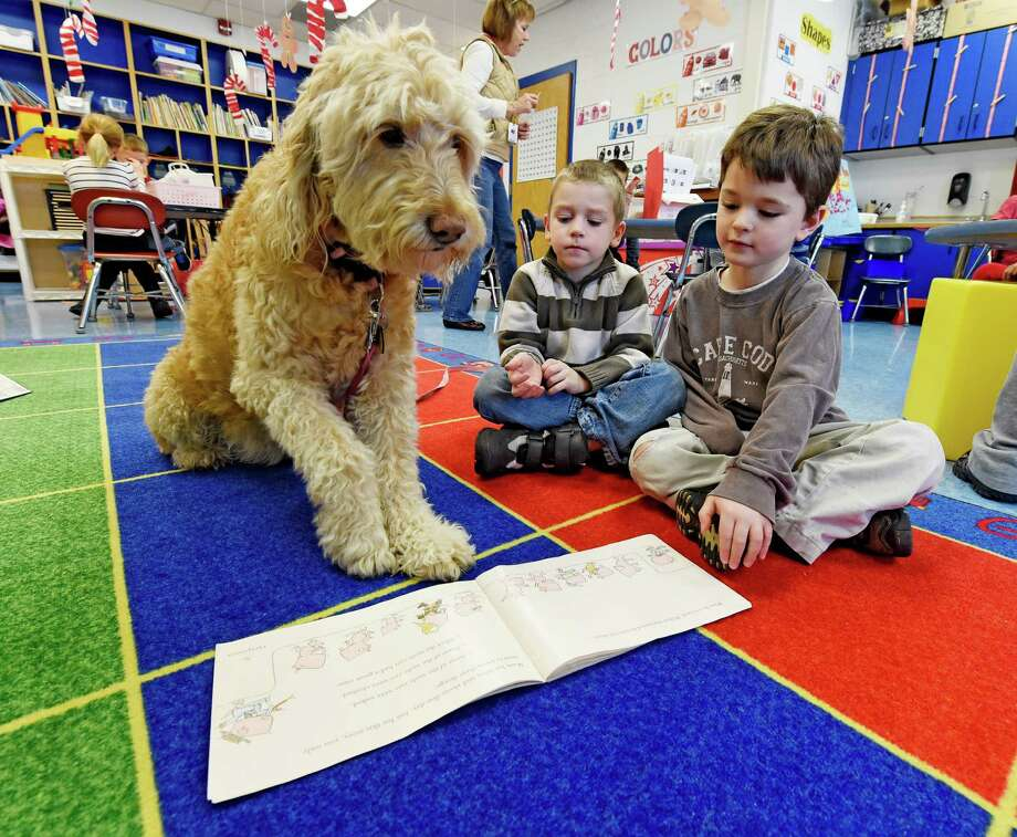 Miss Sigmund enjoys her time with students Sean Larson, left and Gabriel Fasciglione during reading period at the Pine Bush Elementary School,Thursday morning Dec. 11, 2014 in Schenectady, N.Y.     (Skip Dickstein/Times Union) Photo: SKIP DICKSTEIN / 00029627A