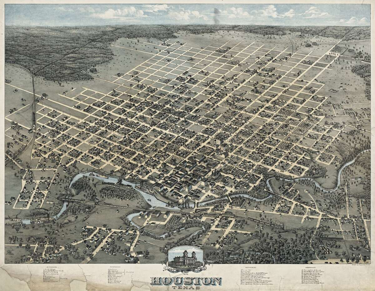 A Bird's Eye View of Houston illustration done in 1873.