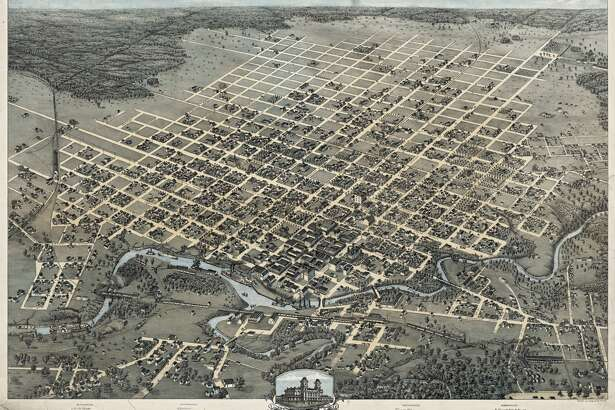 Augustus Koch (1840–?). Bird's Eye View Of the City of Houston, Texas 1873, 1873. Lithograph (hand-colored), 23.2 x 30.1 in. Published by J. J. Stoner, Madison, Wis. Center for American History, The University of Texas at Austin.