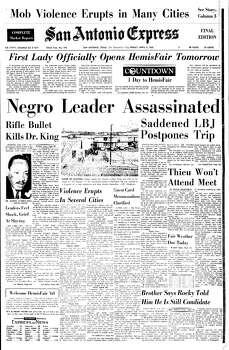 April 5, 1968 Photo: Express-News File Photo