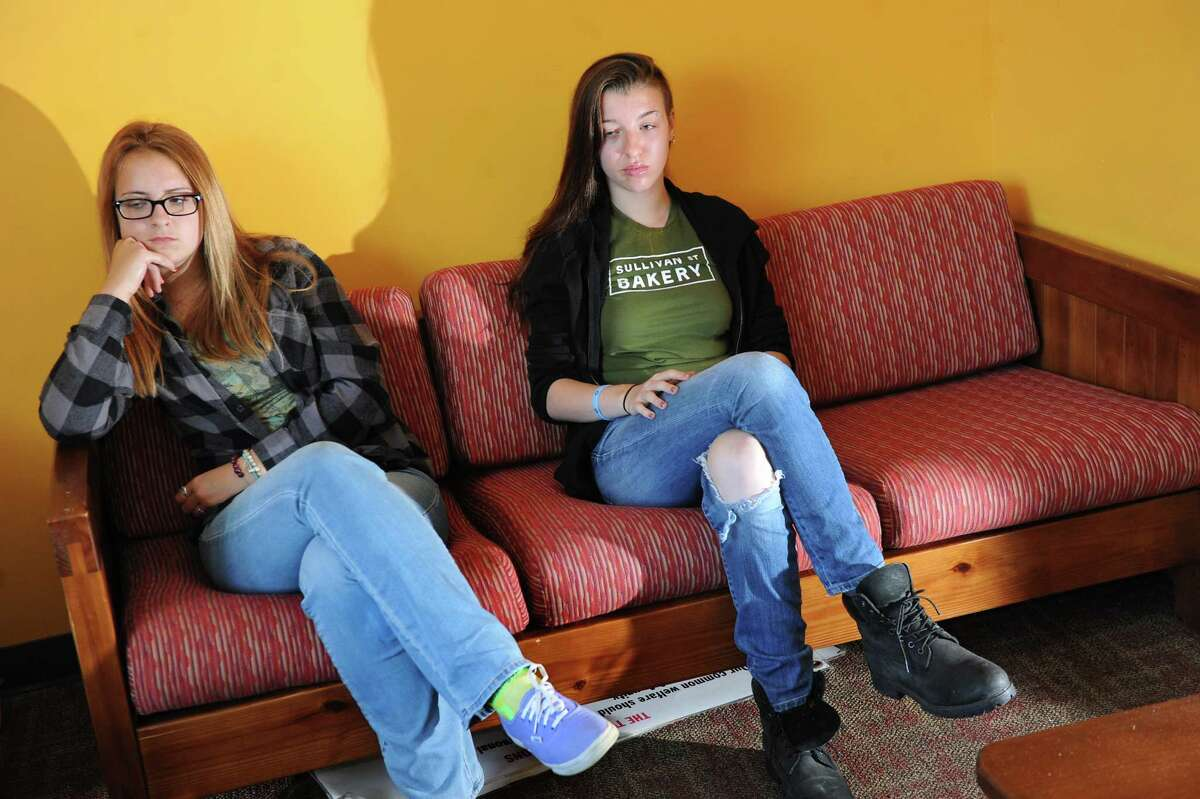 Clients Naomi, 16, left, and Gwyn, 16, who are both in recovery for heroin addiction, share their stories on Tuesday, Aug. 19, 2014, at Hope House in Albany, N.Y. (Cindy Schultz / Times Union) ORG XMIT: MER2014082221555136