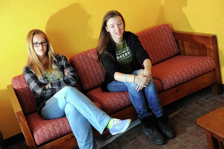 Clients Naomi, 16, left, and Gwyn, 16, who are both in recovery for heroin addiction, share their stories on Tuesday, Aug. 19, 2014, at Hope House in Albany, N.Y. (Cindy Schultz / Times Union) ORG XMIT: MER2014082221573854
