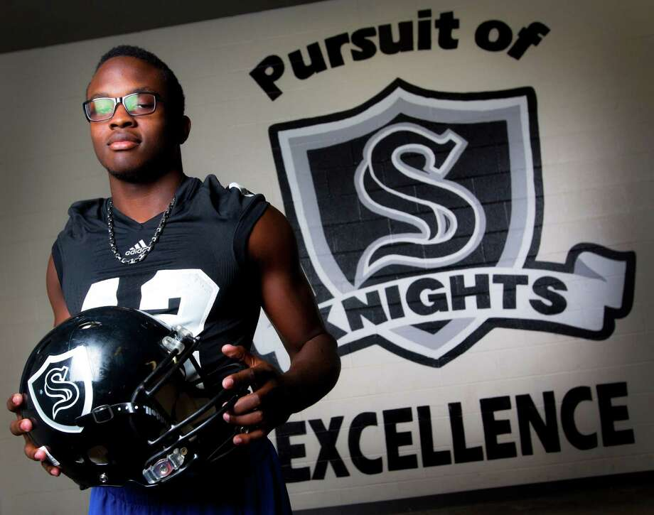 Steele High school defensive end Mark Jackson poses Thursday Dec. 18, 2014 in the Steele locker room. Williams is the Express-News Defenive player of the year. Photo: William Luther / San Antonio Express-News / © 2014 San Antonio Express-News