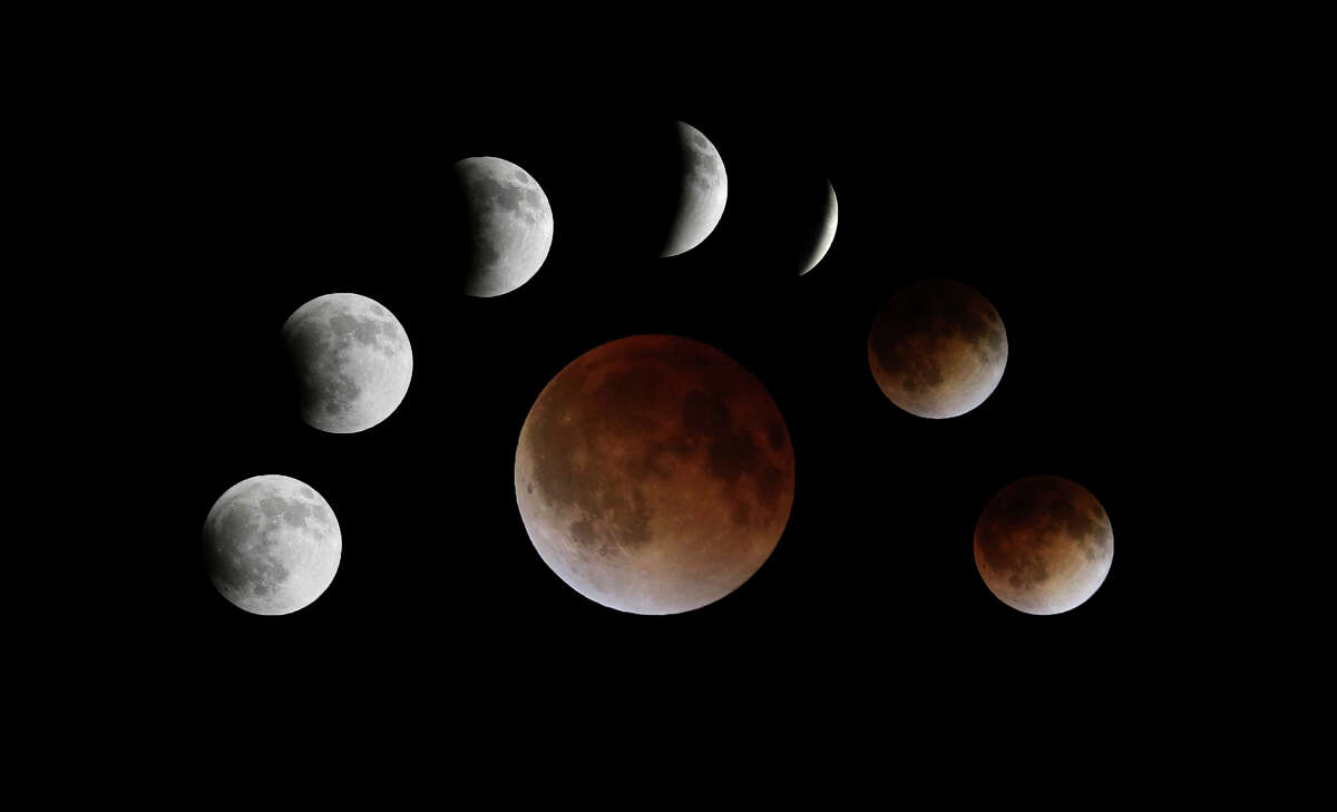 A composite photograph view of the total lunar eclipse