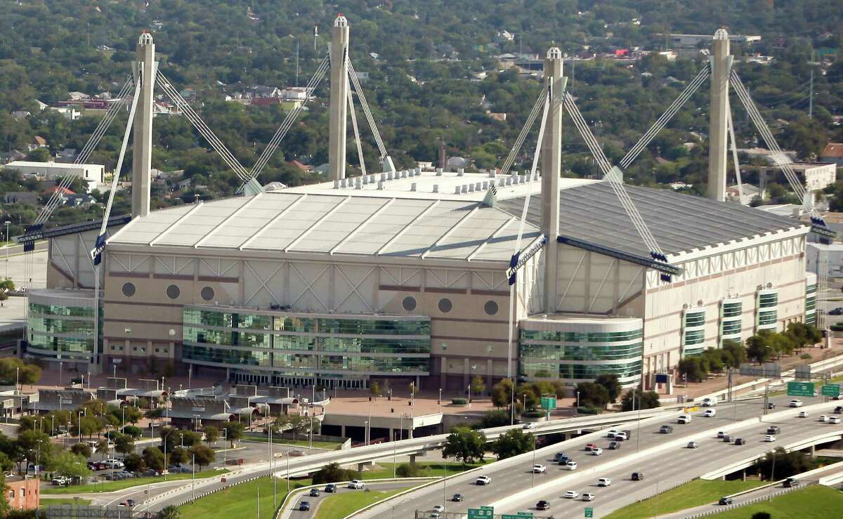 The Alamodome is seen in this Oct. 25, 2012, aerial shot.
