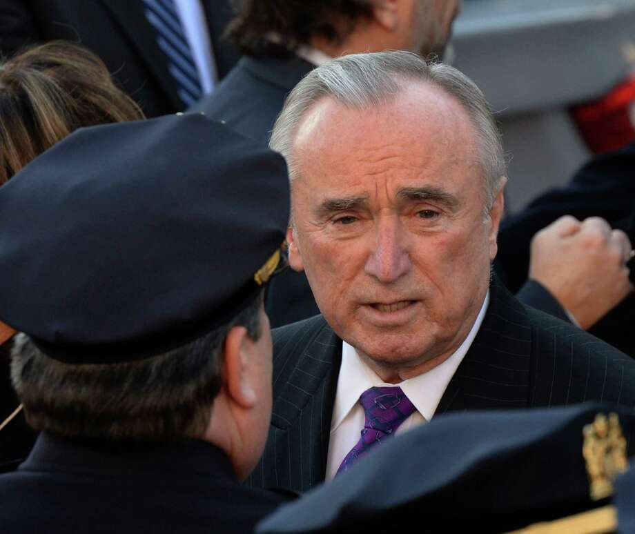 New York Police Commisioner William J. Bratton arrives for the funeral of New York police Officer Rafael Ramos in New York. At the service, scores of his officers turned their backs on Mayor Bill de Blasio as he spoke. Photo: DON EMMERT / AFP/Getty Images / AFP