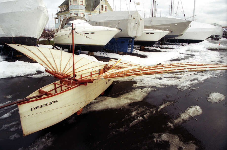 The full size replica of Gustave Whitehead's airplane sits in the snow covered parking lot of Captain's Cove Seaport in Bridgeport, Conn., Dec. 10, 2003. Photo: Ned Gerard / Connecticut Post