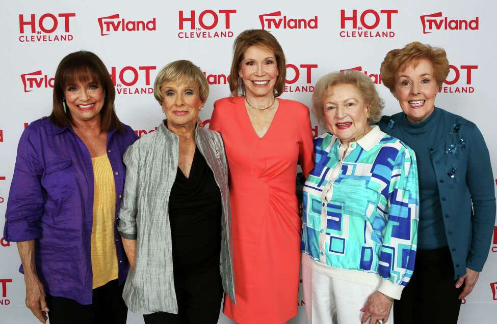 In this April 4, 2013 publicity photo released by courtesy of TV Land shows, from left, actresses Valerie Harper, Cloris Leachman, Mary Tyler Moore, Betty White and Georgia Engel, former co-stars of the '70s TV classic