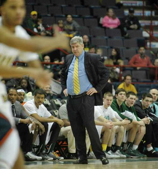 Jimmy Patsos , Siena head coach, watches his team during their game against Bucknell at the Times Un