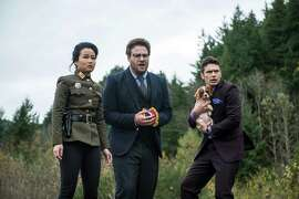 """This photo provided by Columbia Pictures — Sony shows, from left, Diana Bang, as Sook, Seth Rogen, as Aaron, and James Franco, as Dave, in Columbia Pictures' """"The Interview."""""""