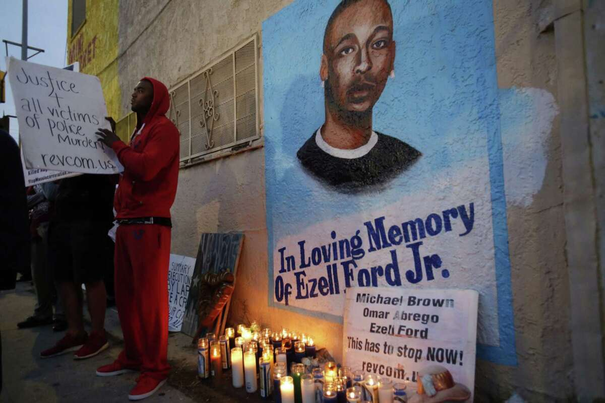 Lavell Ford takes part in a protest in response to the death of Eric Garner in Staten Island, N.Y. on Dec. 5 at the site where his brother, Ezell Ford, was killed by Los Angeles police in August.