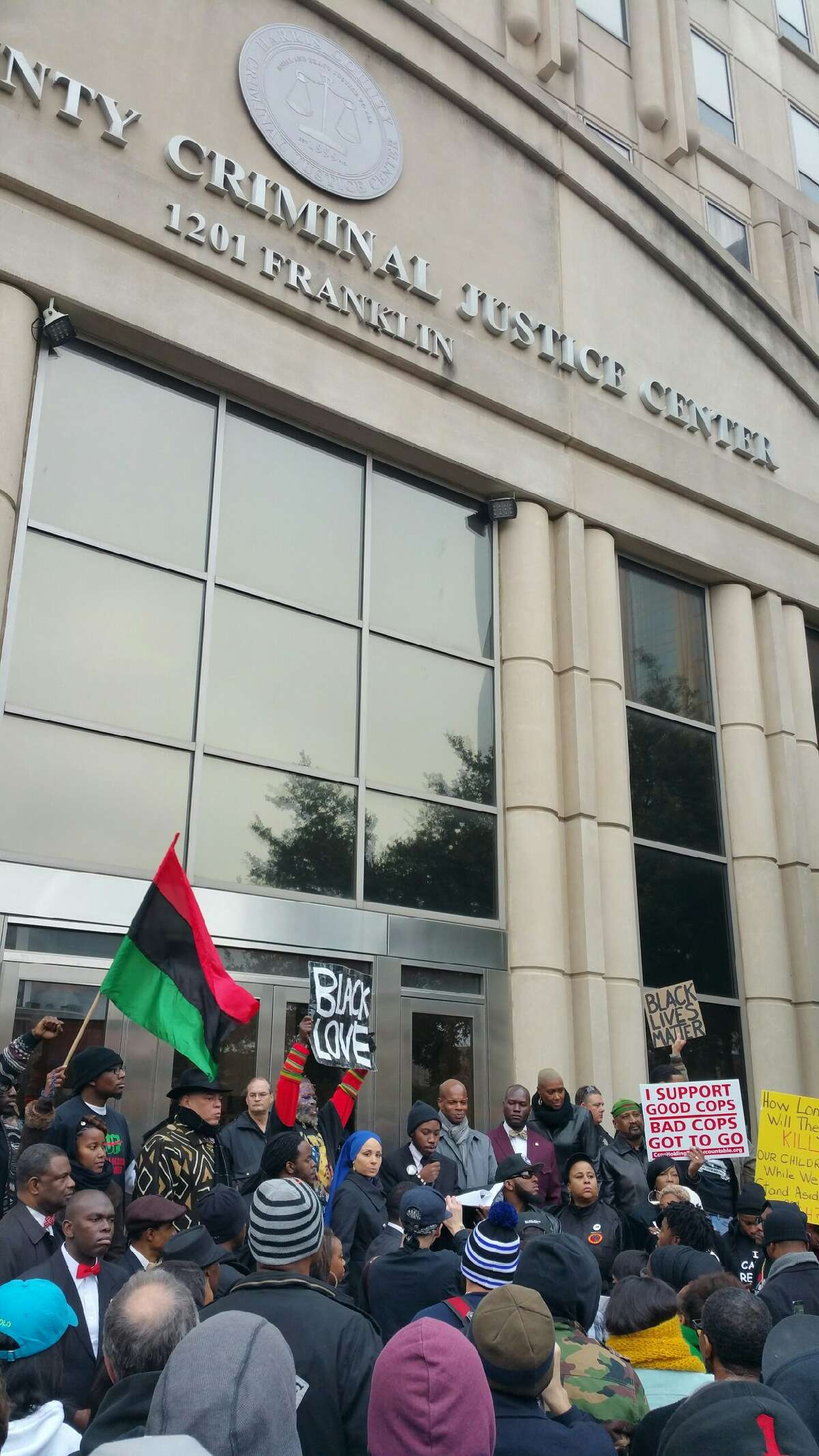 Protesters in Houston took to the streets, Monday, Dec. 29, 2014, to voice their opposition to a grand jury's decision not to indict an officer in the death of Jordan Baker.