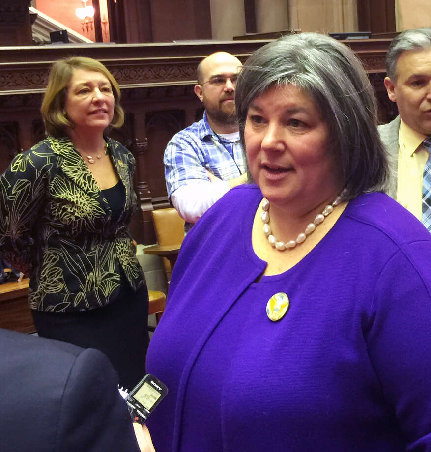 Assembly member Carrie Woerner speaks with reporters after being sworn in to the 113th Assembly District seat Monday morning, Dec. 29, 2014, at the Capitol in Albany. N.Y. (Paul Block/Times Union) Photo: WW