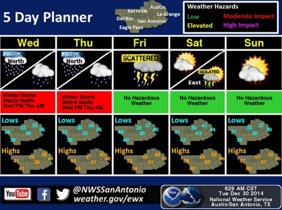 Forecasters are expecting freezing rain in NW Bexar County New Year's Day. Photo: Natinoal Weather Service