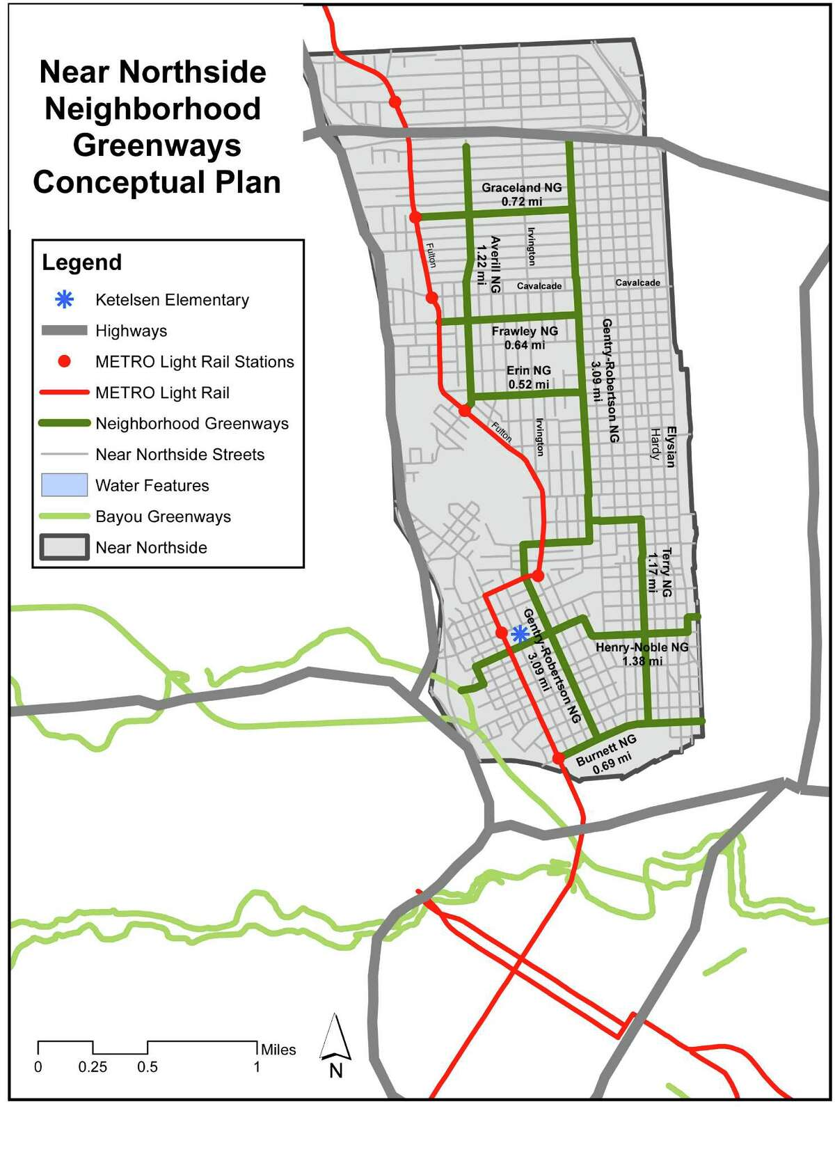This conceptual map for a Neighborhood Greenways network for the Near Northside shows connections between the Bayou Greenways system, light rail stations, schools, and access to this network across the SuperNeighborhood.