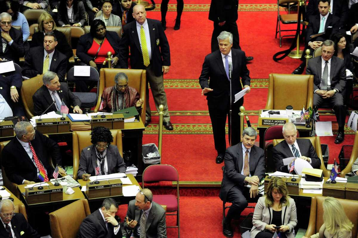 Senate Majority Coalition Co-Leader, Dean Skelos addresses those gathered for a joint legislative session with the Assembly and Senate to vote on members for the New York State Board of Regents on Tuesday, March 11, 2014 in Albany, NY. (Paul Buckowski / Times Union)
