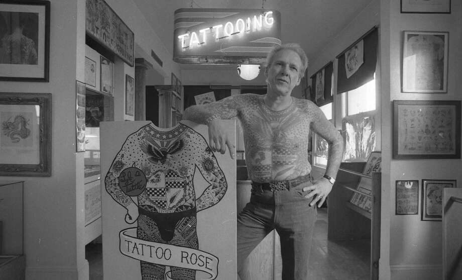 Tattoo artist Lyle Tuttle at his studio and tattoo museum at 30 7th St. in San Francisco.  12/16/1985 Photo: Chris Stewart / The Chronicle / ONLINE_YES