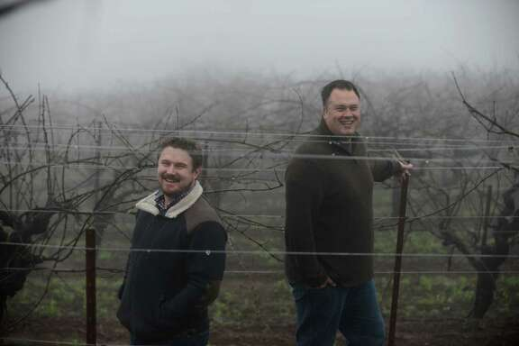 Winemakers Morgan Twain-Peterson (left) of Bedrock Wine Co. and Tegan Passalacqua of Turley Wine Cellars at the Montecillo vineyard in Sonoma County, from which both harvest Cabernet Sauvignon.
