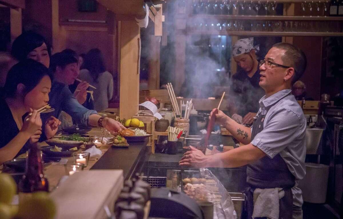 Khan Kogure makes skewers at Rintaro, which offers a 14-item savory menu.