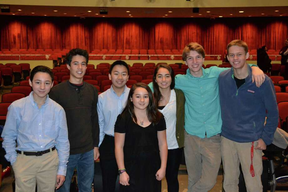 The finalists in the Greater Bridgeport Youth Orchestras' Concerto Competition will perform for the title during a Music for Youth Young Persons' Concert Saturday, Jan. 10, at 2 p.m. at the Pequot Library in Fairfield's Southport section. Finalists are, from left, Julian Shively, Max Moon, Gilbert Tsui, Alison Shively, Sofia Vega, Jeff Pearson and Emil Friis. Photo by Taegun Moon. Photo: Contributed Photo / Connecticut Post Contributed