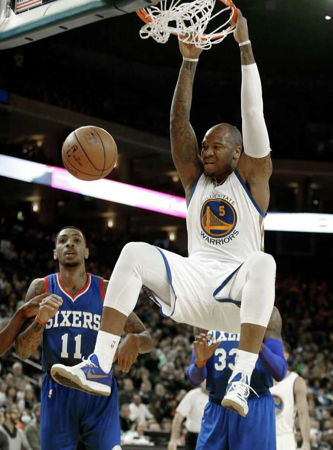 Center-forward Marreese Speights has posted career highs in points (12.6 per game) and field-goal shooting, stepping up when the team was without big men David Lee (24 games) and Andrew Bogut (12). Photo: Beck Diefenbach / Special To The Chronicle / ONLINE_YES