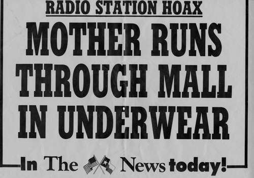 """This rack card may have, pardon the term, exposed too much about the story by noting it was a """"radio station hoax."""" Photo: San Antonio Express-News"""