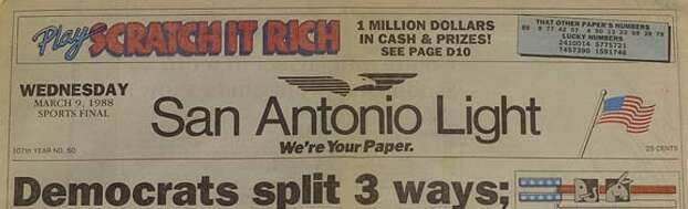 """Attracting readers was the name of the game during San Antonio's newspaper war, and one way to do it was by offering contests. In 1988, the Light ran """"Scratch it Rich"""" while reminding everyone that """"We're your paper."""" Photo: San Antonio Express-News"""