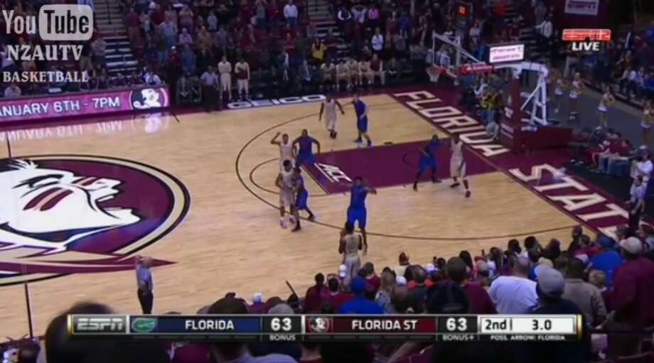 Florida basketball player Jacob Kurtz accidentally tipped in a last-second shot by Florida State Tuesday night. The Seminoles defeated the Gators 65-63. Photo: Guerrero, Salvador D, Courtesy Of ESPN / NZAUTV Basketball