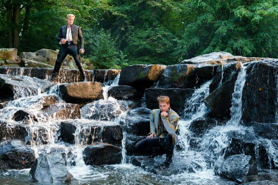 "Billy Magnussen, left, and Chris Pine performed the ""Agony"" scene of ""Into the Woods"" on a real waterfall. The film crew had to lay down chicken wire on some stones so the actors didn't slip while performing. Photo: Disney / ONLINE_YES"