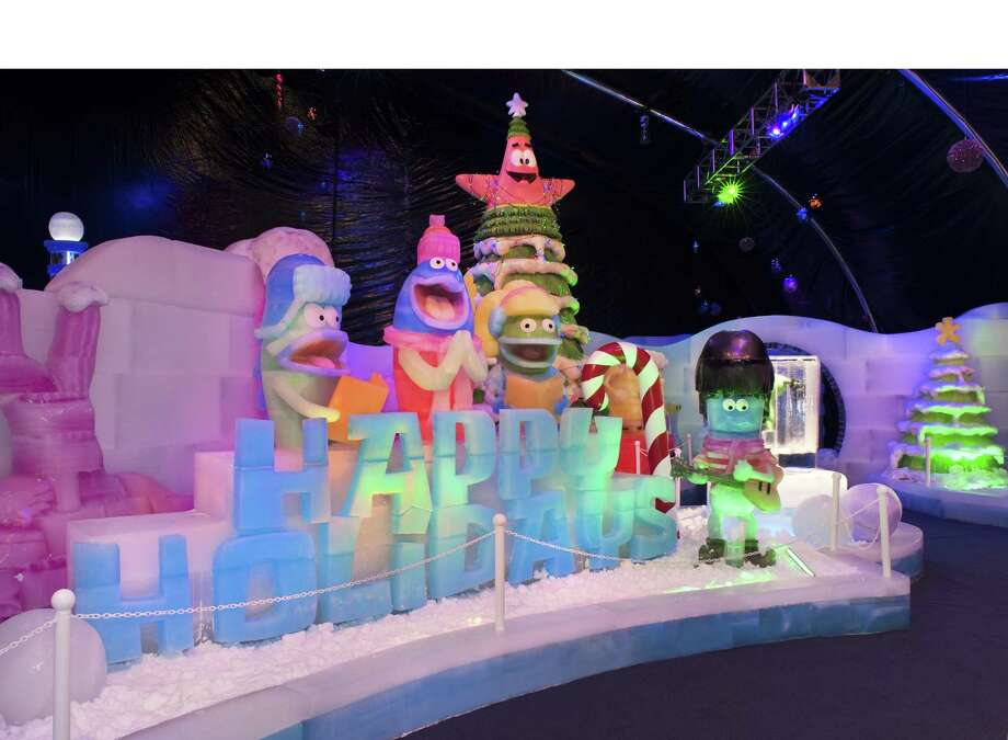 The new ICE LAND Ice Sculptures with SpongeBob SquarePants holiday attraction at Moody Gardens on Galveston Island, TX is receiving high praise from visitors who are enjoying this uniquely festive and artistic addition to the numerous attractions available for families at this popular Gulf Coast destination. (PRNewsFoto/Moody Gardens) Photo: ROBERT MIHOVIL, HO / Moody Gardens