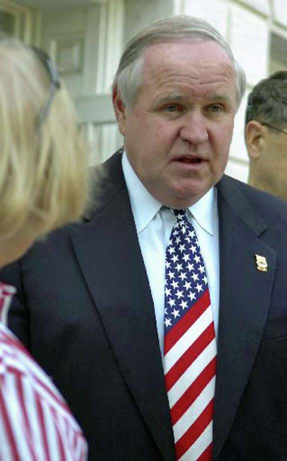 Selectman Dave Theis with his American flag tie at the Fourth of July Ceremony at the Greenwich Town Hall on Sunday, July 4, 2010. Photo: File Photo / Greenwich Time File Photo