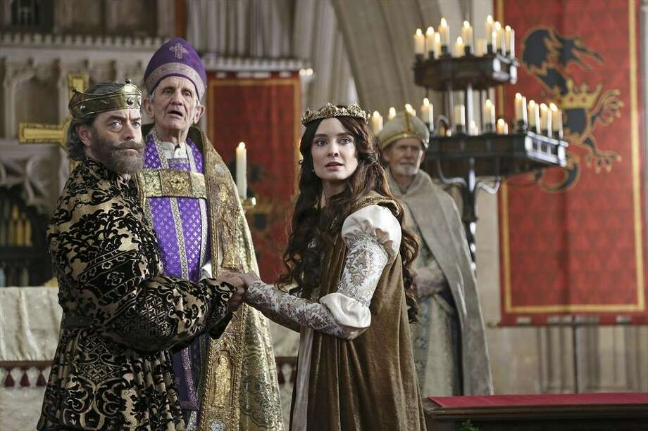 """King Richard (Timothy Omundson) and Madalena (Mallory Jensen) are wed by the archbishop (John Walters) in the pilot of """"Galavant."""" Photo: Nick Ray, ABC / ONLINE_YES"""