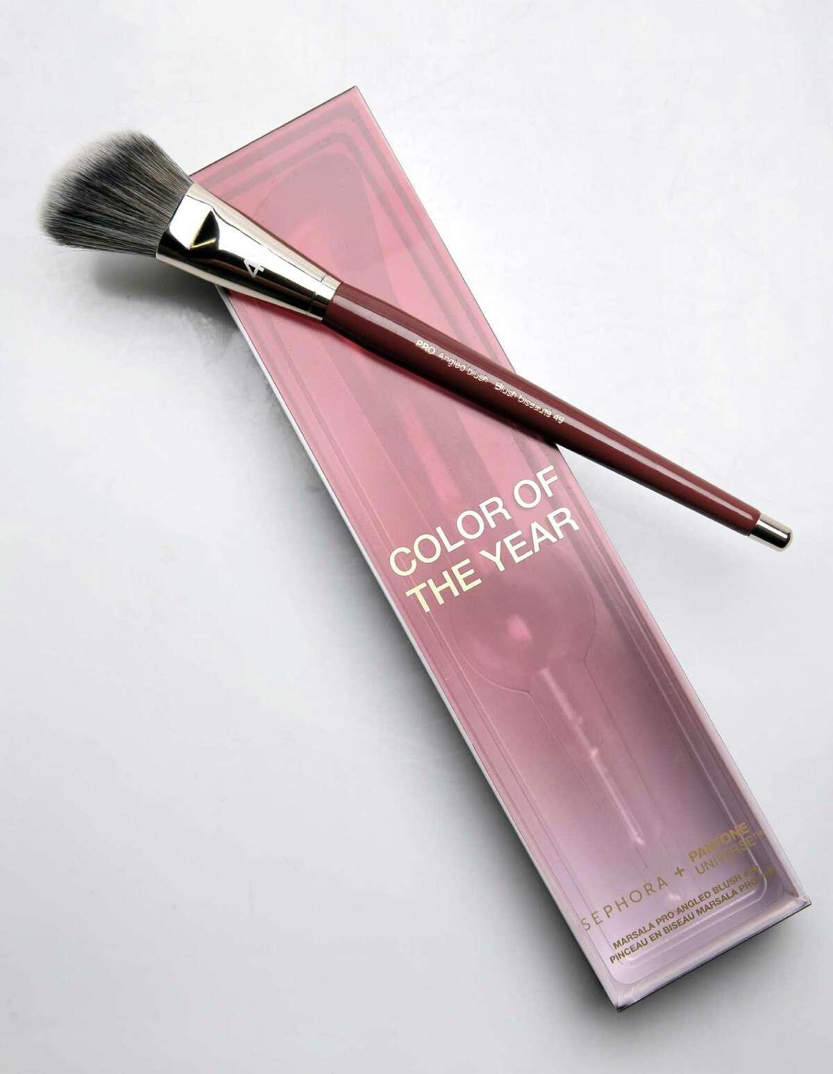 Sephora cosmetics Marsala Pro Angled Blush Brush #49 based on Pantone's Color of the Year.