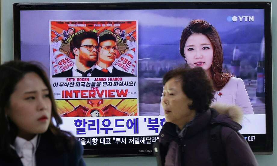 """Sony Pictures' """"The Interview"""" is being promoted in South Korea, but an activists' plan to balloon-lift copies of it into North Korea could raise tensions. Photo: Ahn Young-joon, STF / AP"""