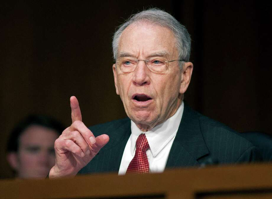 Sen. Charles Grassley, R-Iowa, questions a witness  on Capitol Hill in Washington, Tuesday, April 23, 2013, during a Senate hearing on the use of drones. The Senate Democratic leader criticized the Republicans who have been escalating attacks on the FBI and Justice Department as Robert Mueller's investigation has come closer to the president's inner circle. Photo: Cliff Owen, FRE / FR170079 AP