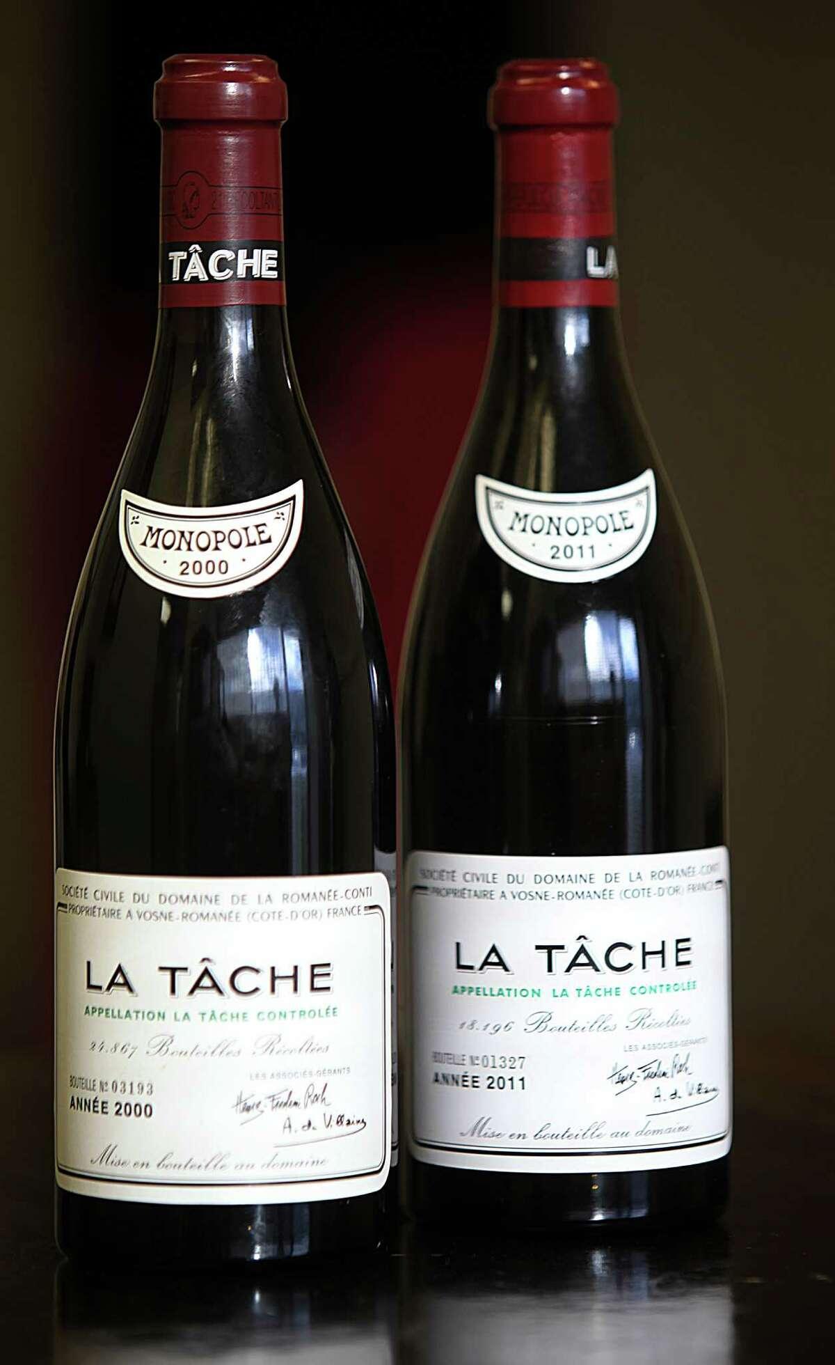 Two bottles of La Tache are seen in San Francisco in December.