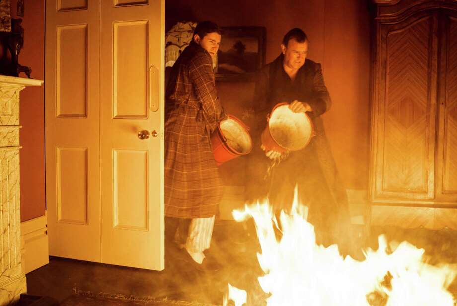 "Tom Branson (Allen Leech) and Robert Crawley (Hugh Bonneville) put out a fire in season 5 of ""Downton Abbey"" on PBS. Photo: PBS / PBS / ONLINE_YES"