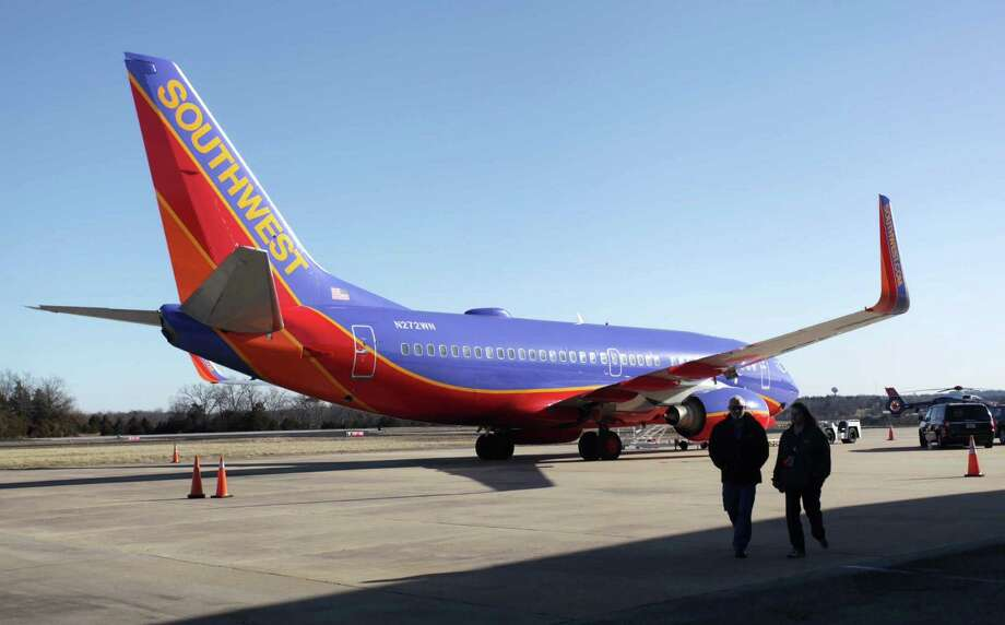 """6. Southwest AirilnesFrom the report: """"Performance measures for Southwest Airlines includes performance outcomes for AirTran Airlines. An on-time arrival percentage of 73.5% in 2014 was worse than their 76.7% in 2013. A customer complaint rate of 0.53 per 100,000 passengers in 2014 was higher than their 2013 rate of 0.34. An involuntary denied boarding rate of 1.06 per 10,000 passengers in 2013, increased to 1.11 per 10,000 passengers in 2014. A mishandled baggage rate of 4.09 per 1,000 passengers in 2014 was higher than their rate of 3.72 per 1,000 passengers for 2013. Overall, Southwest shows poorer performance (AQR score of -1.22 for 2014 compared to -1.06 in 2013) for 2014 with performance decline in all four areas rated."""" Photo: Valerie Mosley, MBO / Springfield News-Leader"""