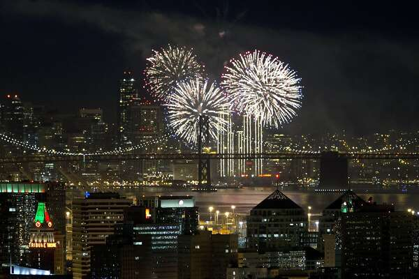 New Year's fireworks light up the night sky above the San Francisco skyline and Bay Bridge as seen from the Oakland hills in Oakland, Calif. on Thursday, January 1, 2015.