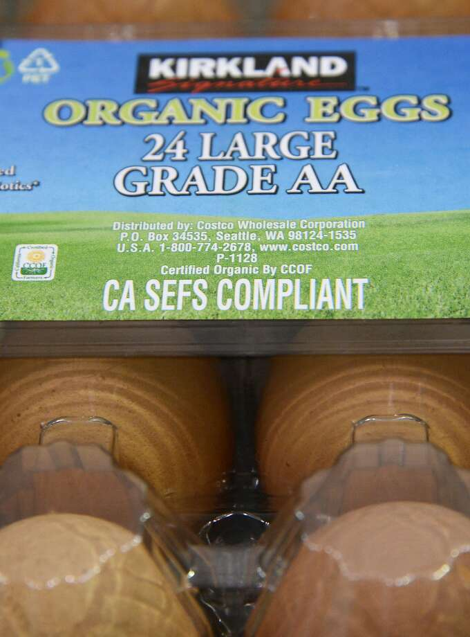Organic eggs are seen in Burbank, California, December 31, 2014. AFP PHOTO / ROBYN BECKROBYN BECK/AFP/Getty Images Photo: Robyn Beck, AFP/Getty Images