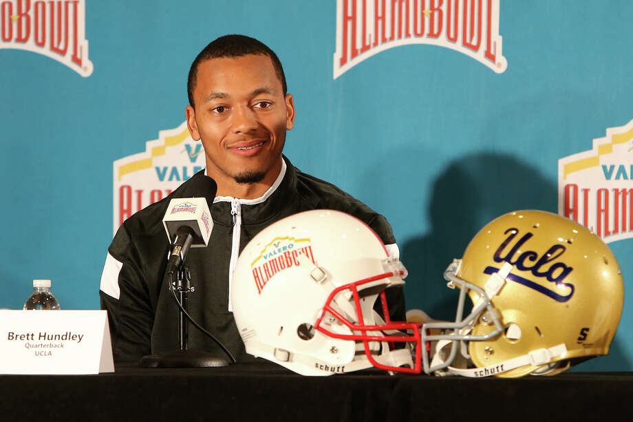 UCLA quarterback Brett Hundley speaks during a Valero Alamo Bowl press conference at the Marriott Riverwalk on Dec. 31, 2014. Photo: Marvin Pfeiffer /San Antonio Express-News / Express-News 2014