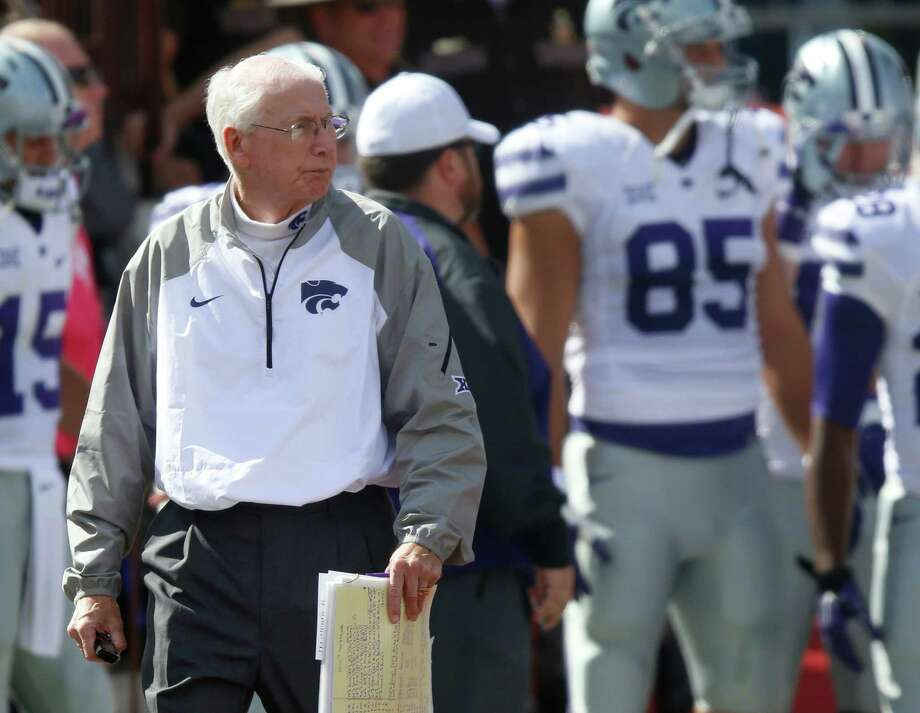 Kansas State head coach Bill Snyder roams the sidelines against Oklahoma at Memorial Stadium in Norman, Okla., on Oct. 18, 2014. K-State won 31-30. Photo: Bo Rader /McClatchy-Tribune News Service / Wichita Eagle