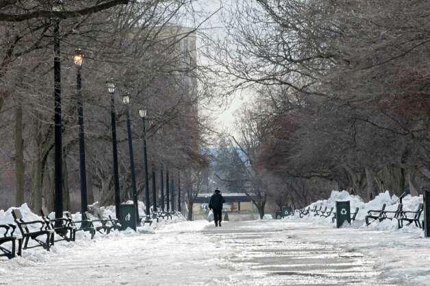 A man walks through Washington Park on a cold day Thursday, Feb. 27, 2014 in Albany, N.Y.  (Lori Van Buren / Times Union) Photo: Lori Van Buren / 00025939A