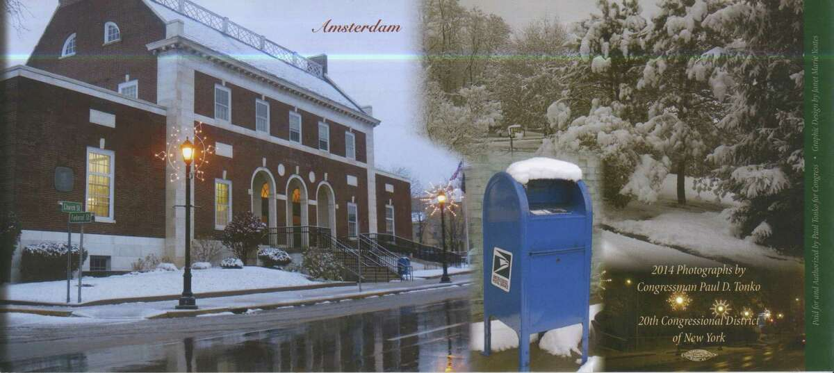 A scan of U.S. Rep. Paul Tonko's postal service-themed holiday card.