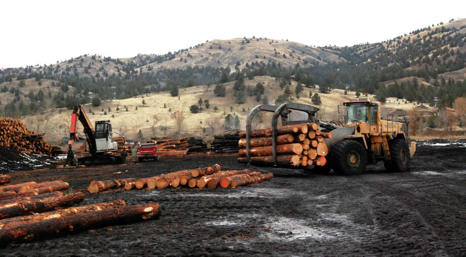 A loader stacks logs at the Malheur Lumber Co. mill in John Day, Ore. The mill was on the verge of closing in 2012, but timber interests and conservation groups overcame decades of fighting to compromise on logging projects that reduce the danger of wildfires.  Photo: Jeff Barnard, STF / AP